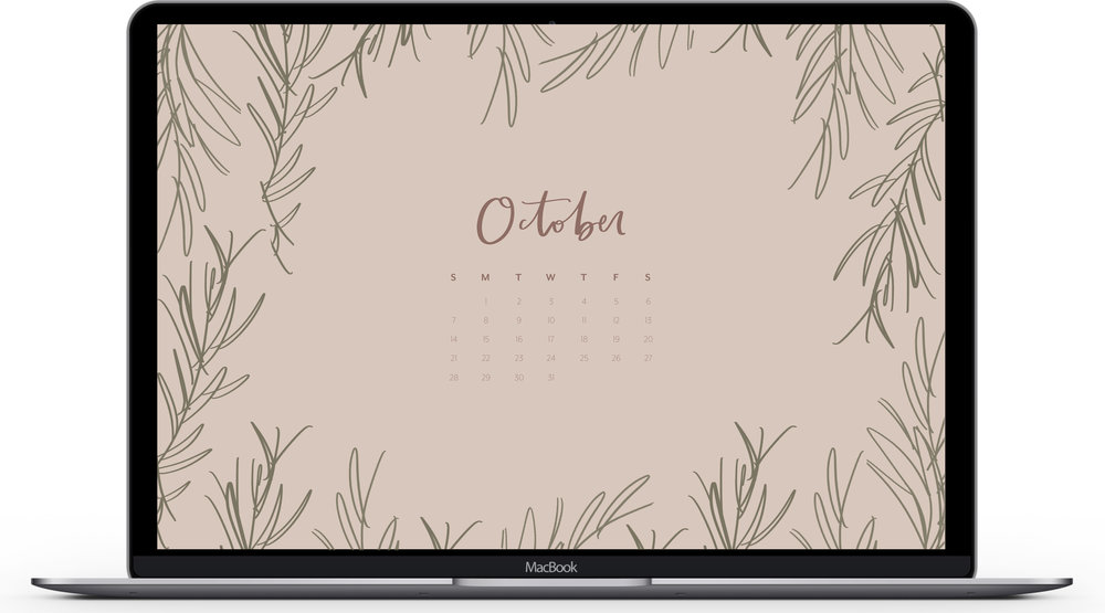 October 2018 Calendar Desktop & iPhone Wallpaper