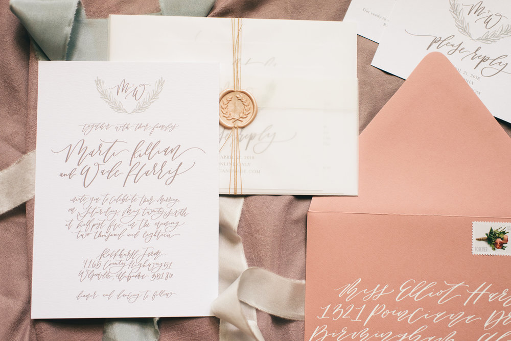 Neutral & Dusty Rose Wedding Stationery with Vellum and Wax Seals