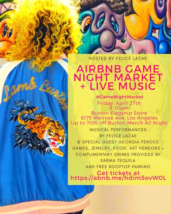 Tonight is the night! 🎉 Come to my @Airbnb @GameNightMarket from 8-10pm at @burtonlaflagship. There will be live music from me and @georgiaferoce, games, interactive art, food vendors and complimentary drinks from @karmatequila (tap photo for tags). Plus up to 70% off all Burton merch all night. Tickets available on Airbnb until 7pm tonight at the link in my bio. #gamenightmarket #airbnbexperience #fridaynightfun #livemusic #gamenight #nightmarket