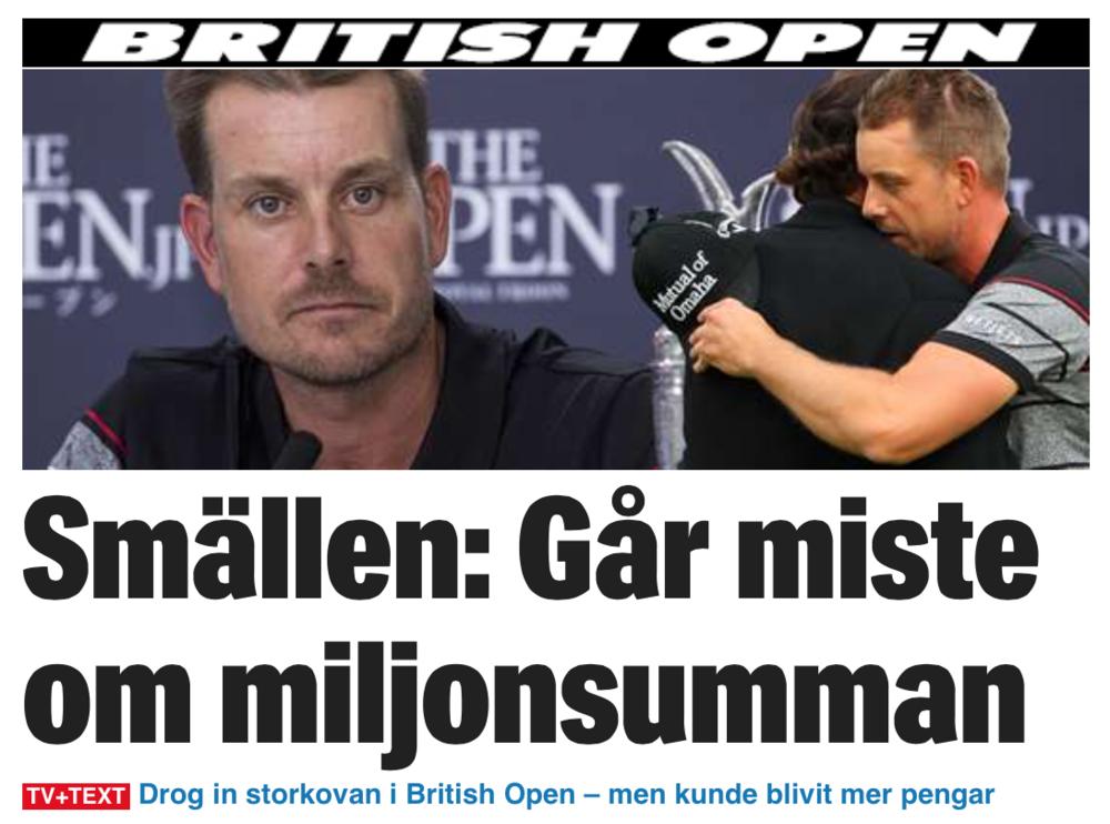 Rubrik idag, dagen efter den kanske enskilt största bedriften av en svensk idrottare 2016.
