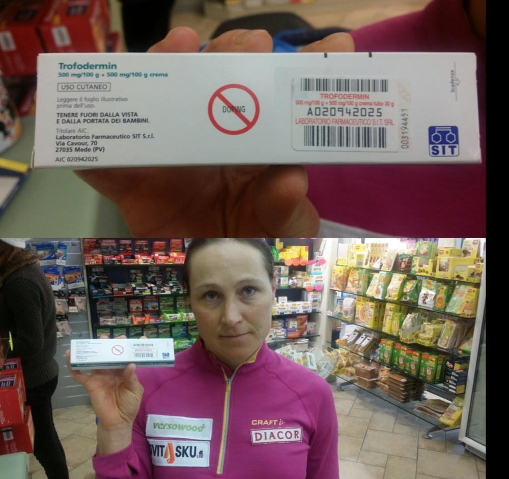 """När finländskan Aino Kaisa Saarinen idag traskade in på ett apotek i Livigno för att se vad det var för ett preparat Johaug testats positivt för, var förpackningen tydligt märkt med """"DOPNING"""". Bild från AK Saarinens Instagram: @ainokaisasaarinen"""