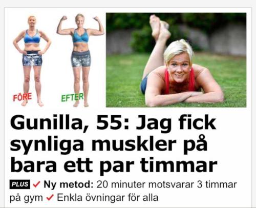 """Härligt för Gunilla! I själva verket tror jag kvällstidningen kommit närmare sanningen med rubriken """"På ett par timmar lärde sig Gunilla, 55, Photoshop."""", alternativt: """"Efter ett par timmar rätade Gunilla på kroppen"""".Jag räknar hursomhelst med att jag får kämpa lite mer för att nå mitt mål. Men om du läser detta Gunilla, så får du gärna höra av dig så kanske vi kan träna tillsammans någon dag."""