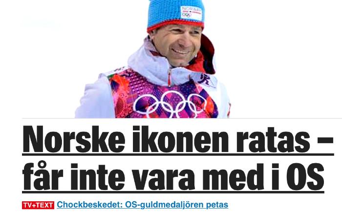 Sånt chockbesked kan det väl knappast ha varit? Visst, Björndalen har fantastiska meriter, och den dagen han slutar ska jag skriva en hyllningskrönika om honom. Men i världscupen i vinter har han, utöver två 18:e-platser,resultatraden:42-36-52-46-28-31. Norska kravet var alltså 2 x topp 12-placeringar.