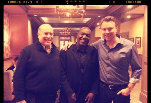 """I New York tillsammans med Devon Harris och William Maloney under inspelningen av programmet """"Underdogs"""".Maloney (th) var den som tog initiativet till en jamaicansk bobsatsning mot OS i Calgary 1988."""
