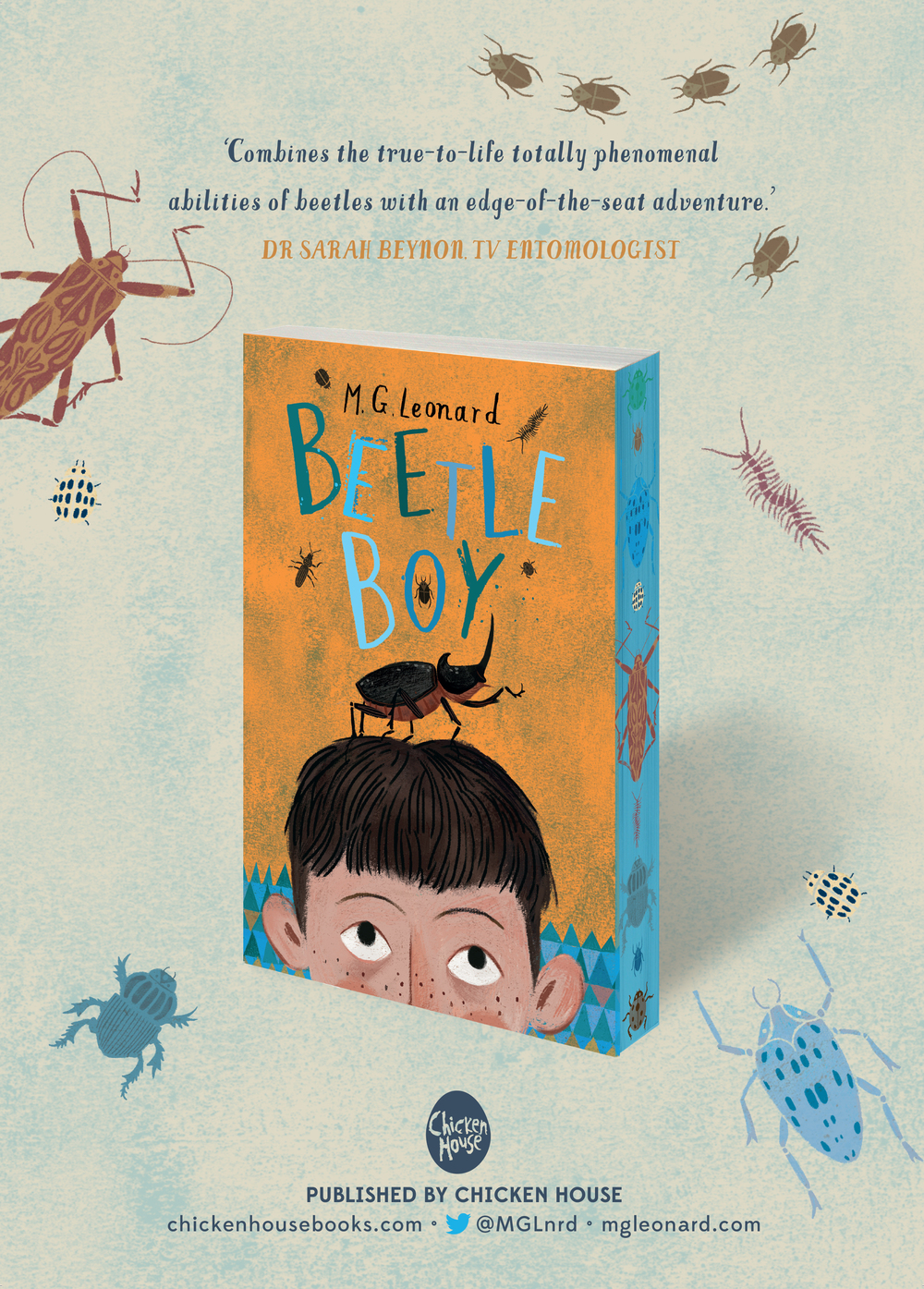 Beetle Boy poster featuring illustration by Julia Sarda.