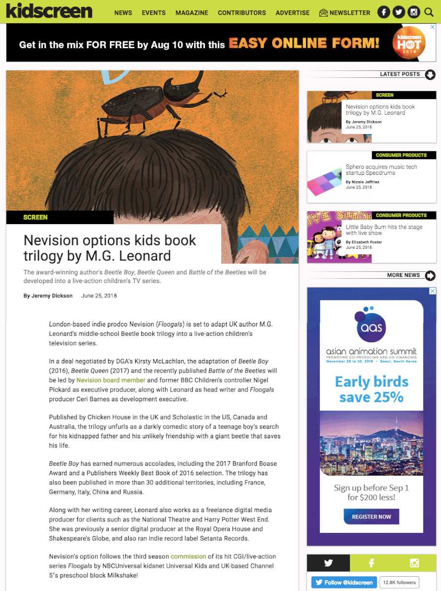 KidScreen  News Piece