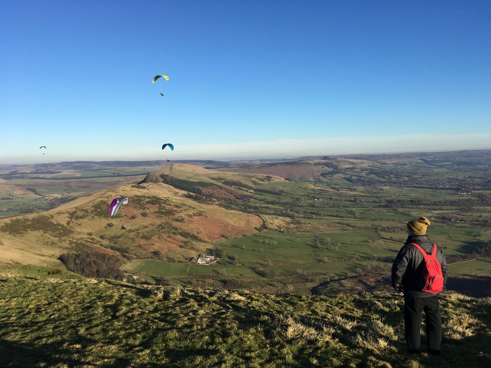 Paragliders on Mam Tor