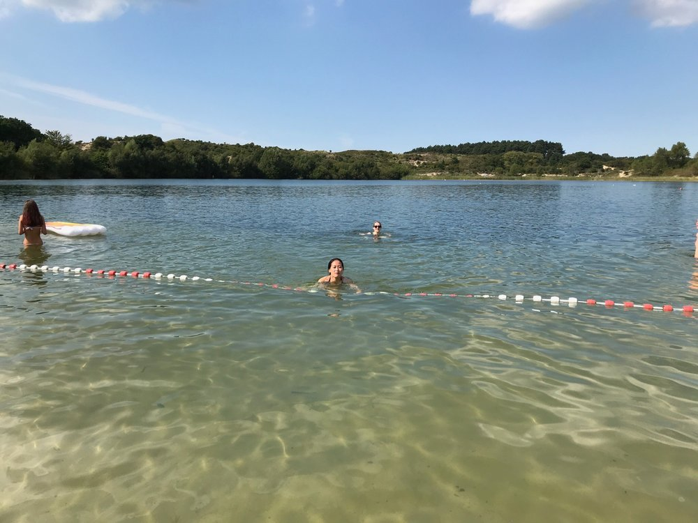 Swimming at the lake inside Zuid-Kennermerland National Park