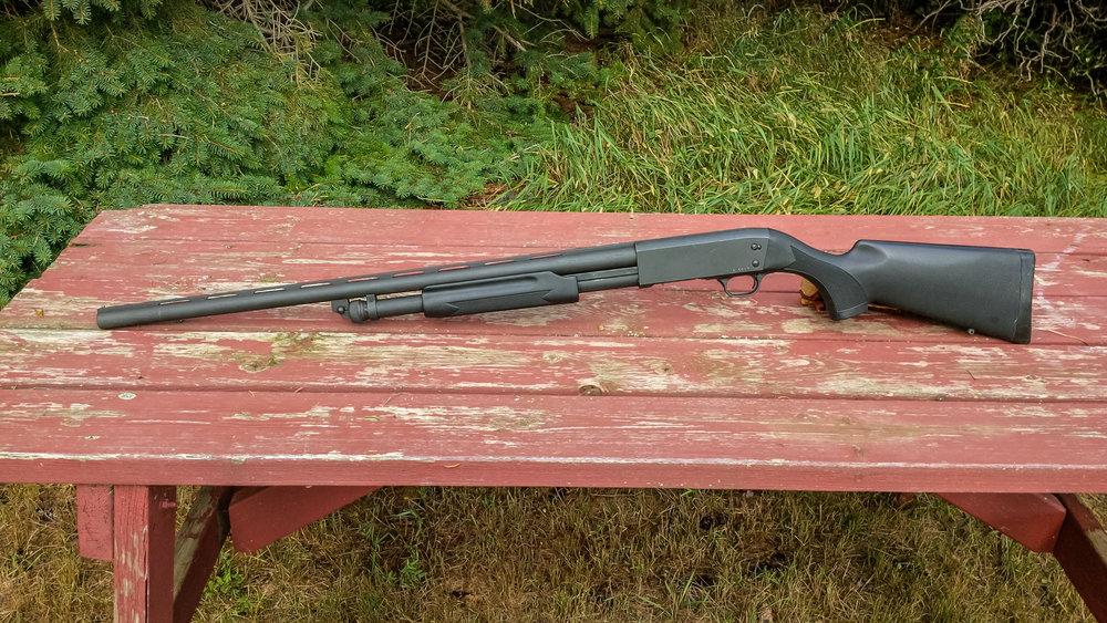Stevens 350 shotgun before Mossy Oak Graphics wrap