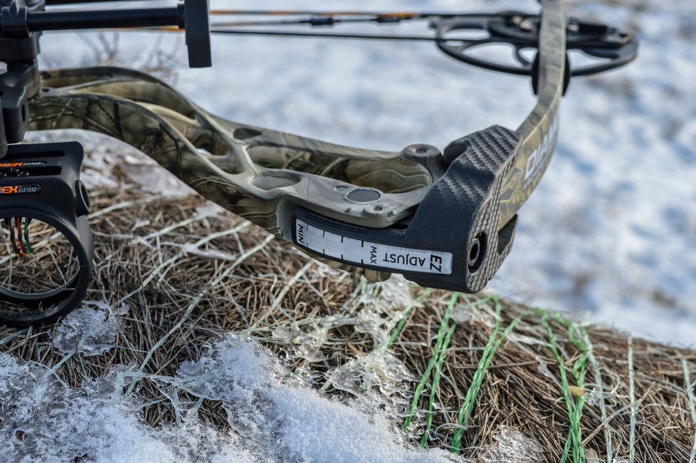 The EZ Adjust system is well...  easy.  Using an Allen wrench, tighten or loosen to the desired draw weight.  Marks on both the limp and adjuster take the guessing game out of tuning a bow.