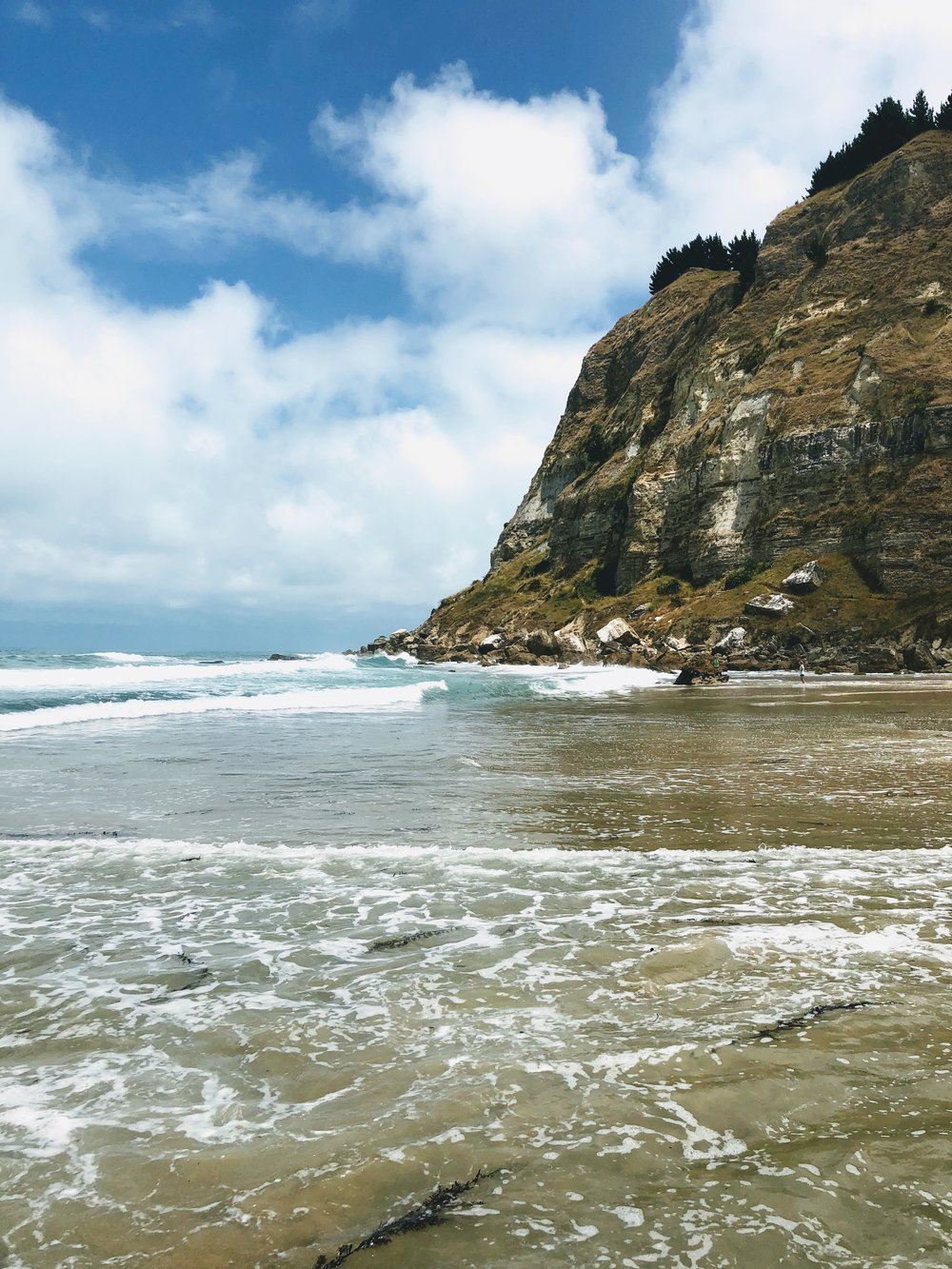 Waipatiki Beach looking towards the cliffside walk
