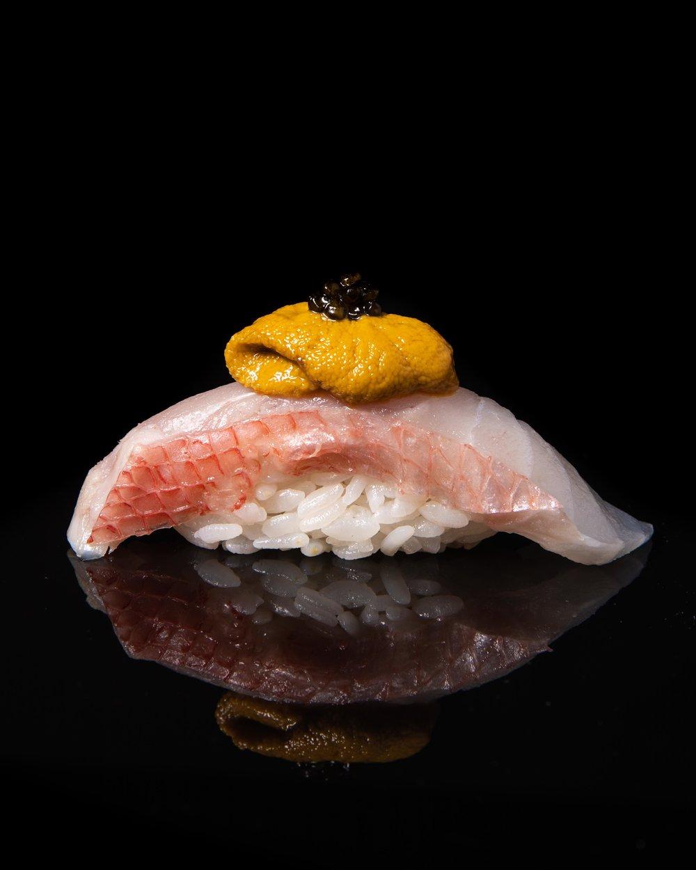 Alphonsino, Sea urchin, caviar