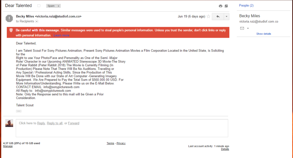A dubious email from  'Sony Pictures Animation Movies'