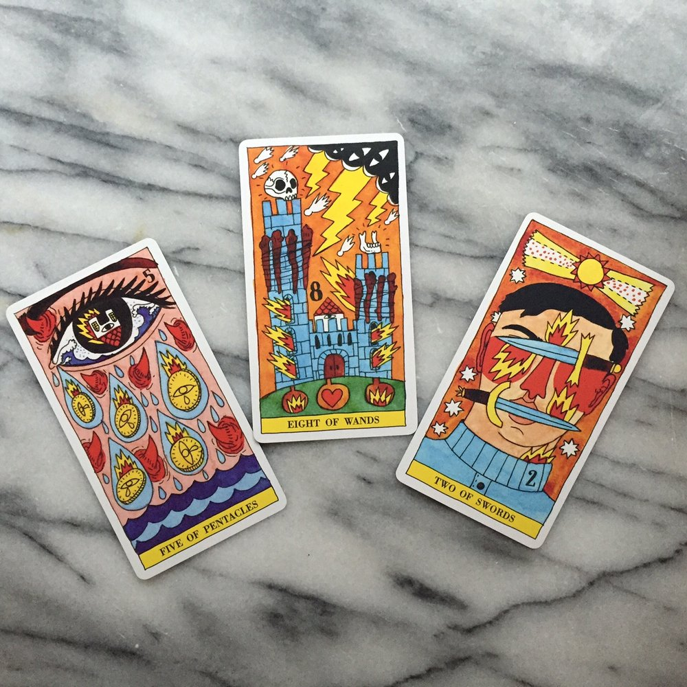 These delightufl and vivid cards are from the Tarot del Fuego