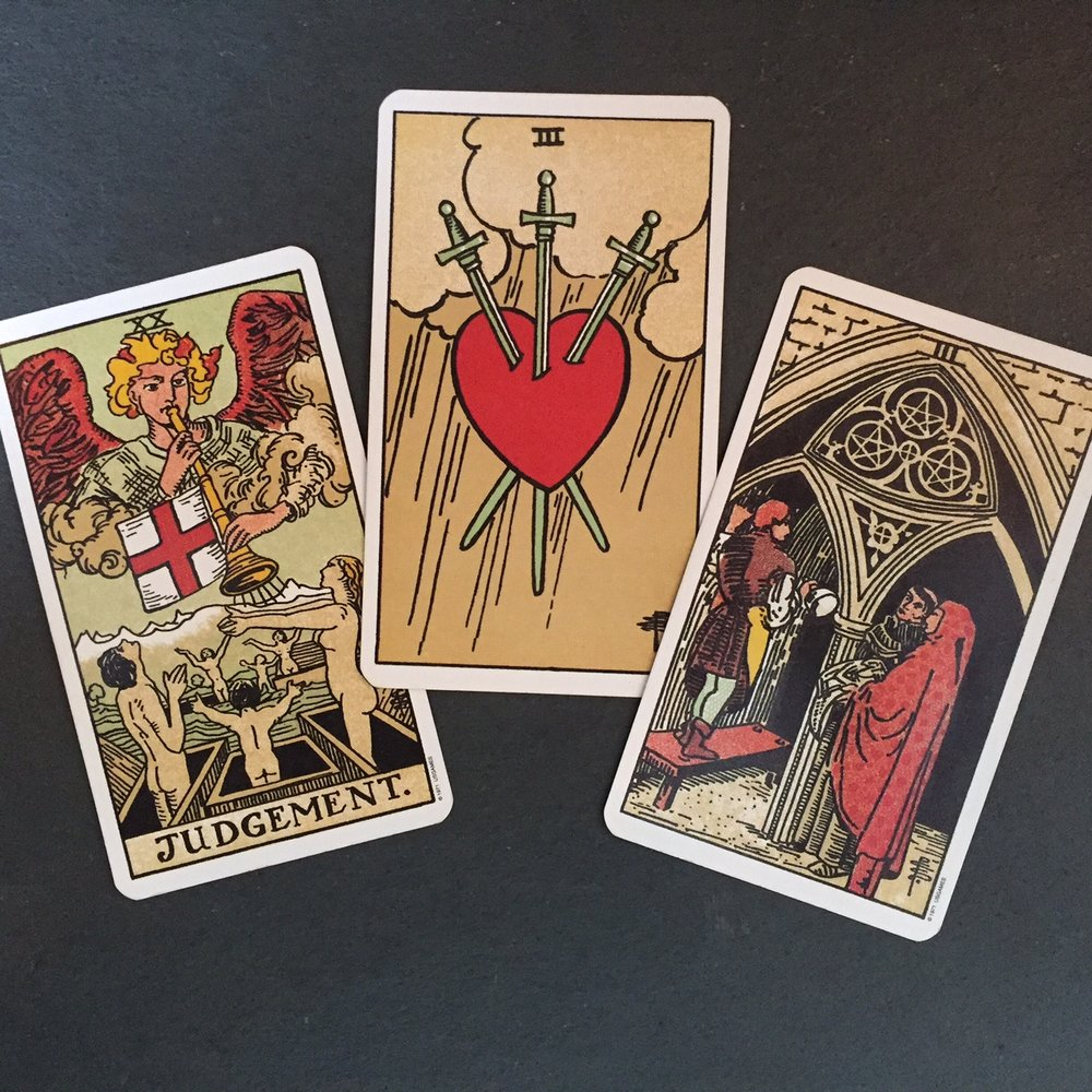 Judgement, Three of Swords, and Three of Pentacles Tarot Reading