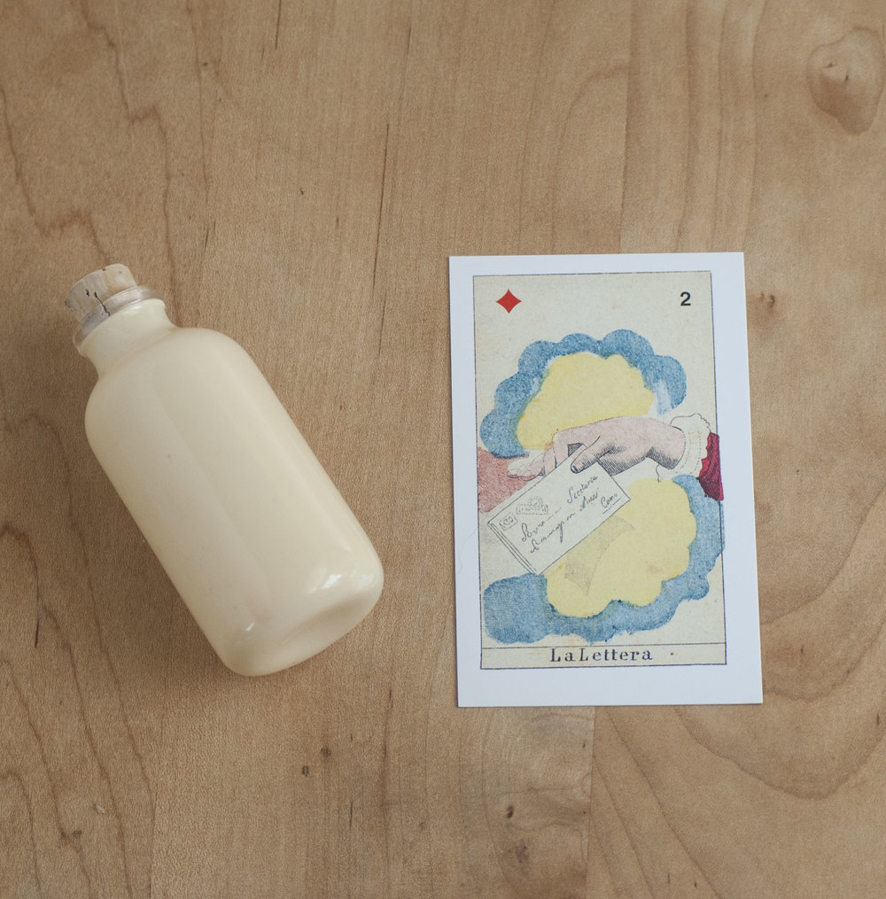 La Lettera Oracle Card with Apothecary Bottle