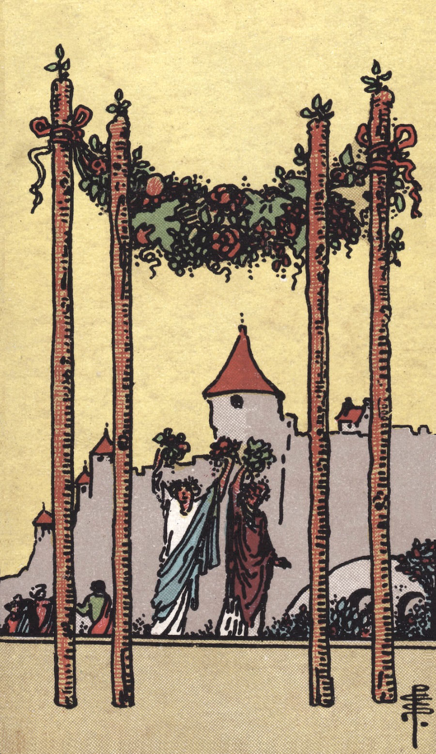 Four of Wands Rider Waite Tarot Card