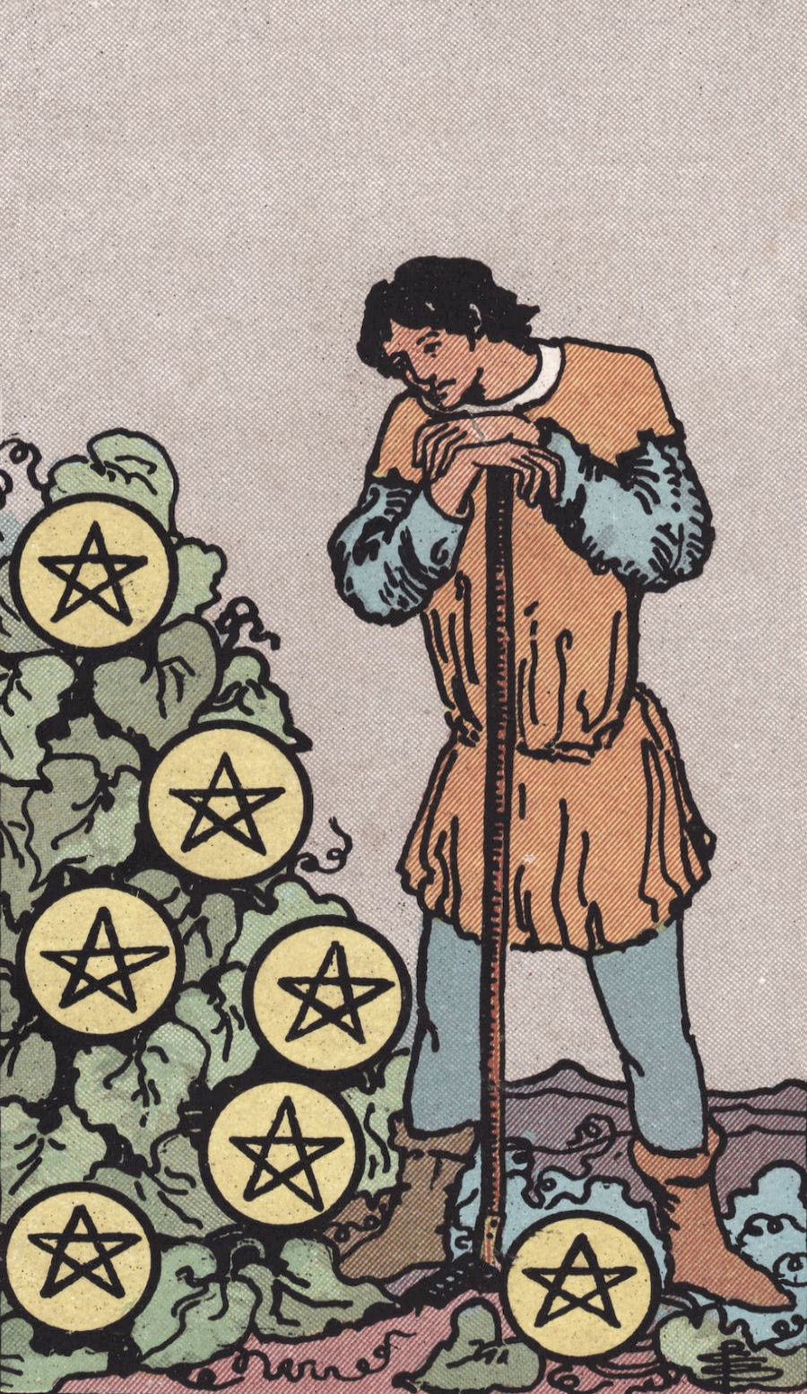 Seven of Pentacles RIder Waite Tarot Card