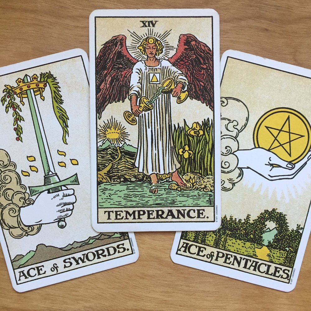 Tarot Reading with the Rider-Waite-Smith Tarot Ace of Swords Ace of Pentacles Temperance