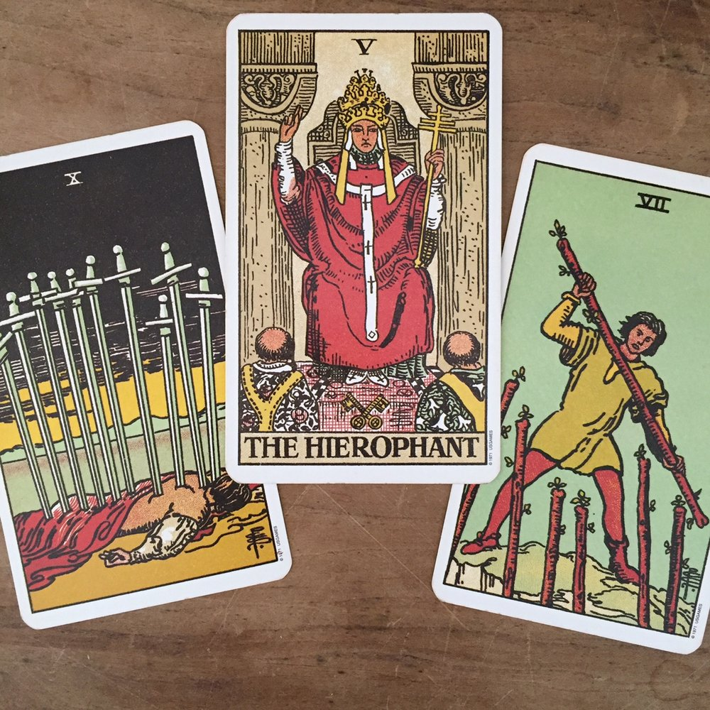 Tarot Reading with the Rider-Waite-Smith Tarot Four of Swords Heirophant Seven of Wands