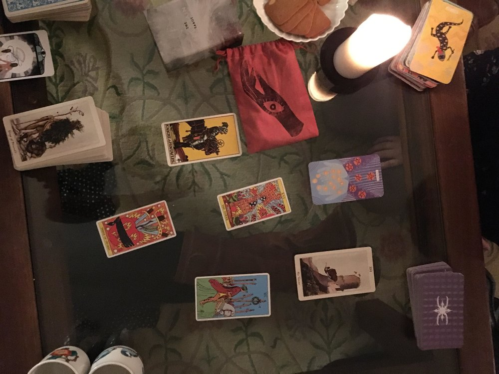 Community tarot reading at the Durham Tarot Club