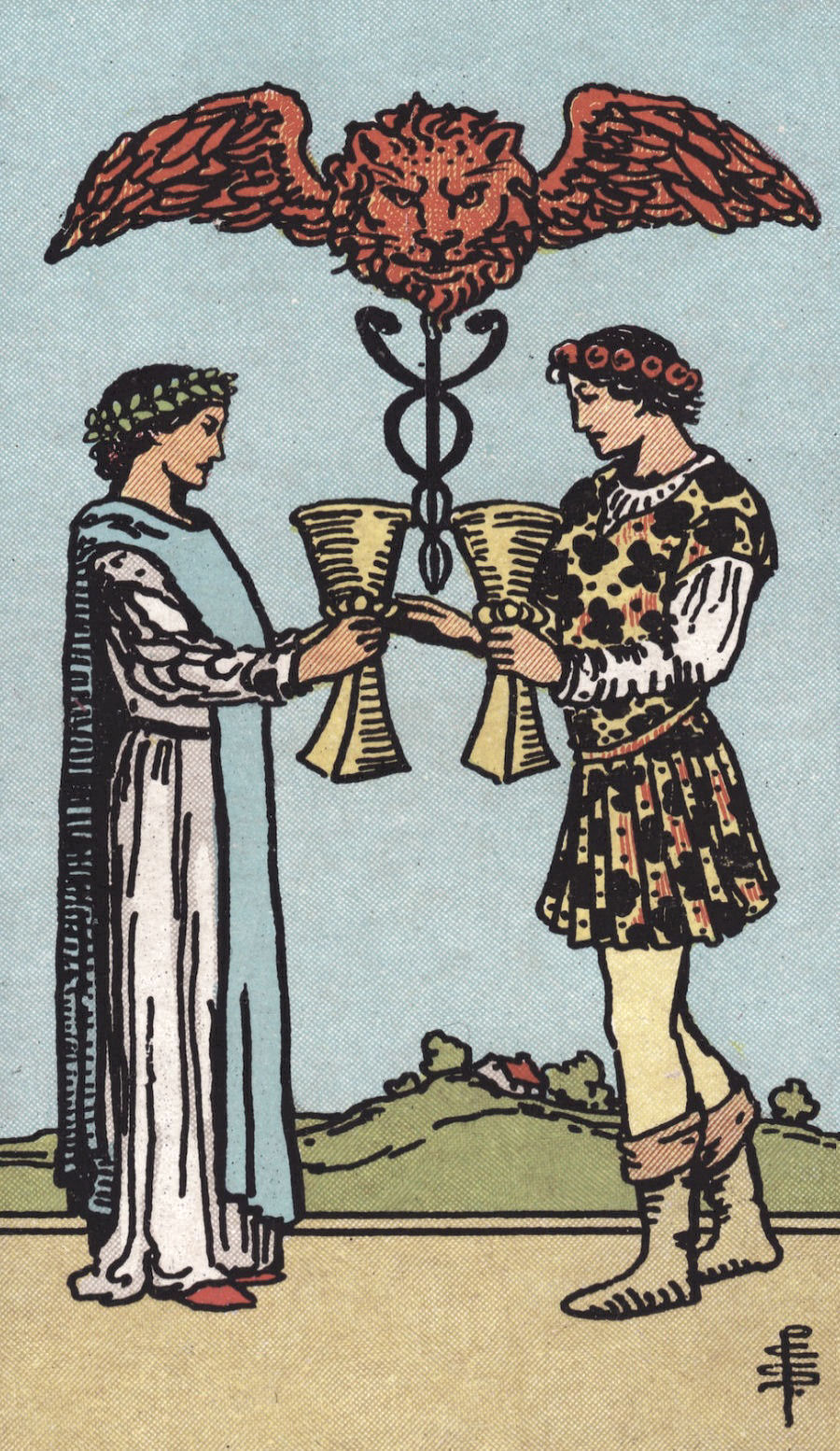 Rider Waite Smith Two of Cups Tarot Card Meaning