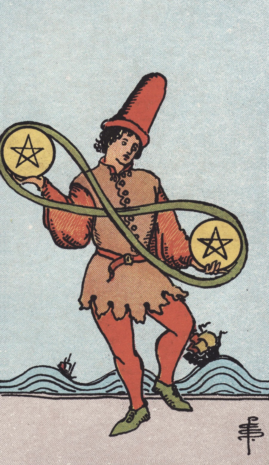 Rider Waite Smith Two of Pentacles Tarot Card Meaning