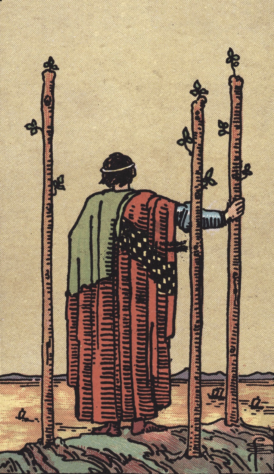Rider Waite Smith Three of Wands Tarot Card Meaning