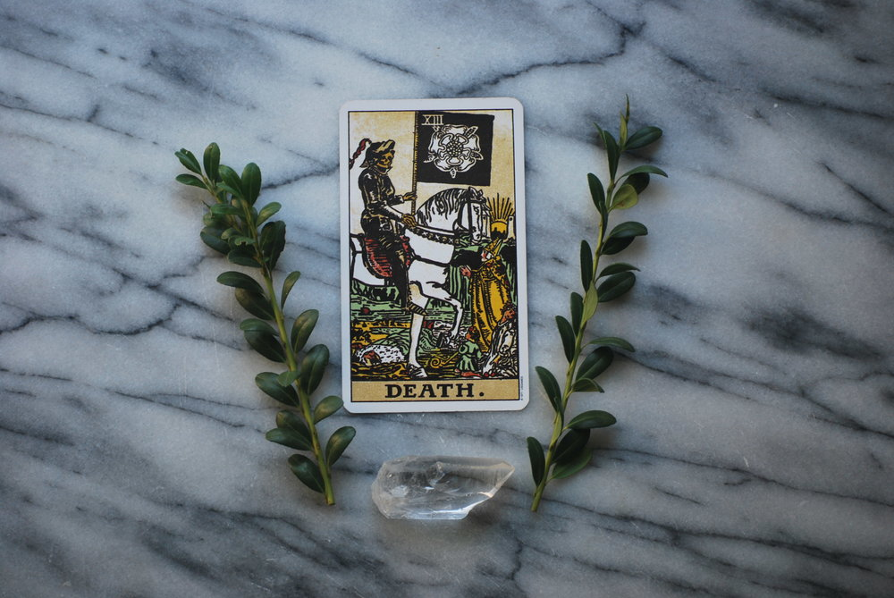 Death Tarot Card with Quartz Crystal