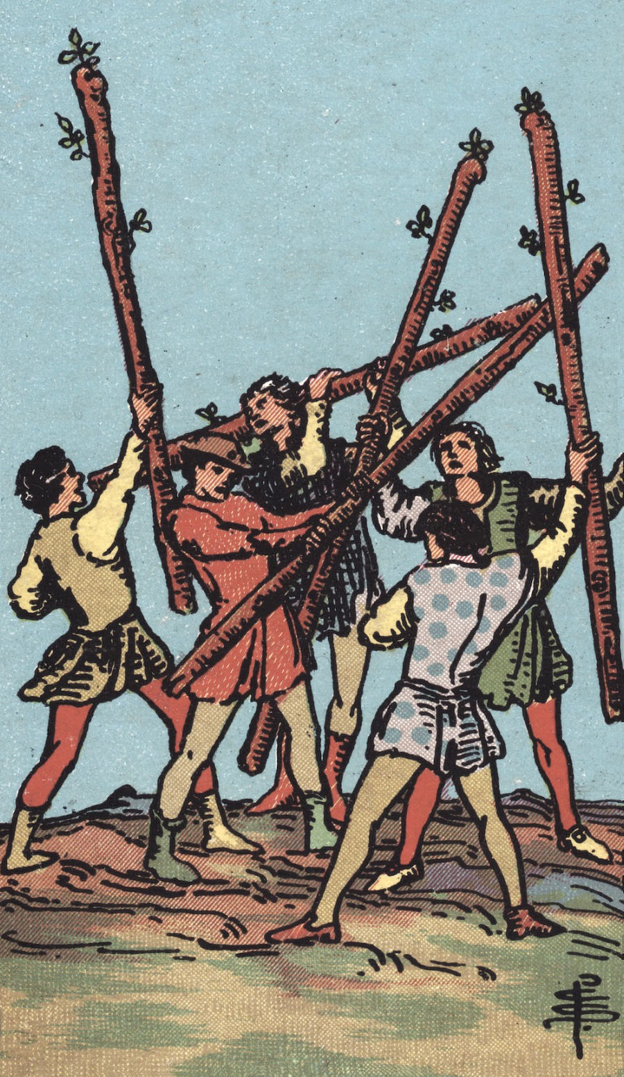 Rider Waite Smith Five of Wands Tarot Card Meaning