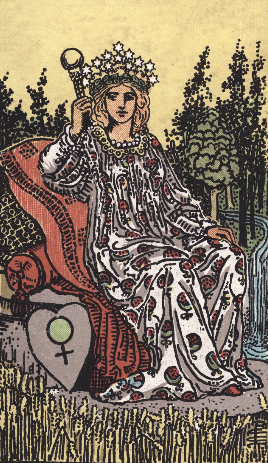 The Empress - Just looking at this card gives us an insight into its sexual meaning. Here is a woman who is clearly feeling herself. The grounded confidence of The Empress represents a deep-seated undertsanding of one's body as the root of their sexuality. Pleasure is wild, free, and undeniably hers. This card can reflect self-pleasuring, sexual generosity with healthy boundaries, and valuing pleasure for pleasure's sake.