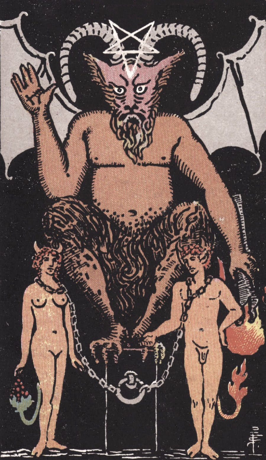 The Devil - Well, well! This card certainly looks naughty. The Devil shows us how it sometimes feels good to be bad. Doing this in a healthy, consensual manner can be toe-curlingly delicious. We can use The Devil's energy to explore parts of ourselves through our sexuality that get short shrift in everyday life. However, we can often seek out unhealthy relationships to get this thrill, unfortunately to our own detriment.
