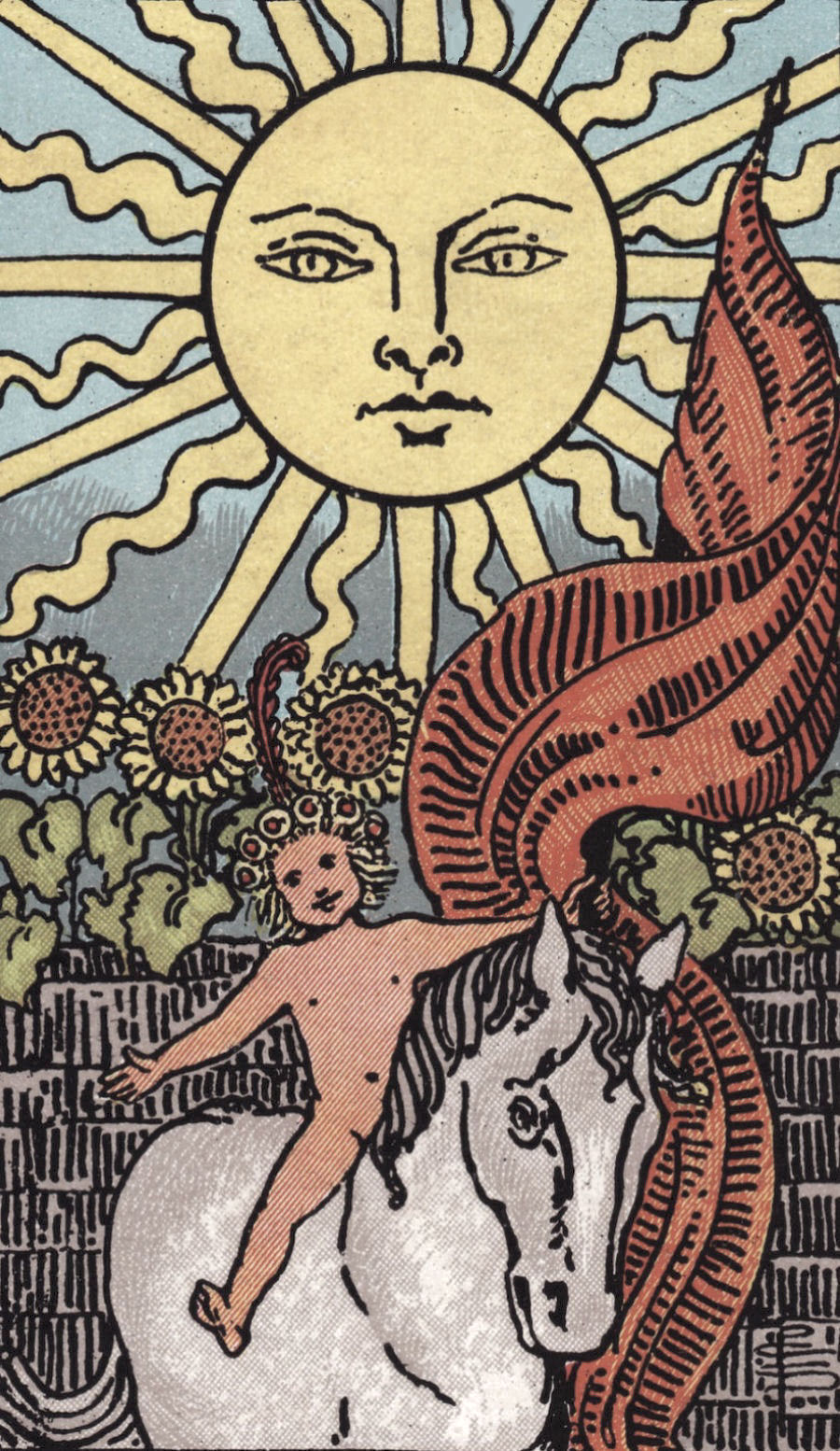 The Sun - This card can represent the unbridled orgasmic joy of sex. Vulnerability, when expressed in a safe relationship or relationships, allows us to show up as purely ourselves. When we do this sexually, the energetic channel is astounding and something to be savored (hopefully many, many times!)