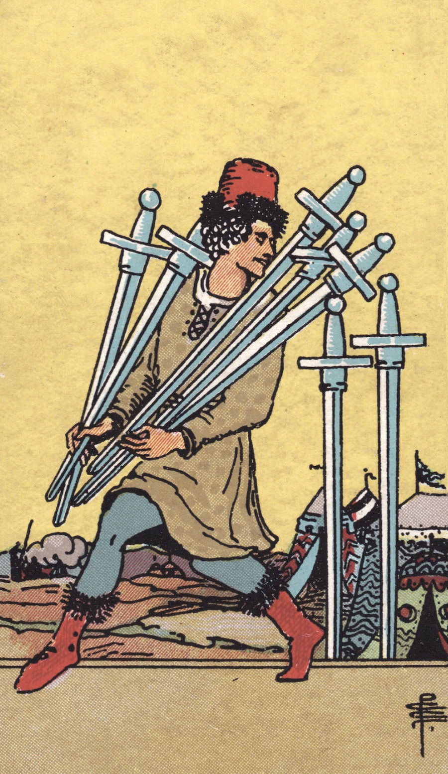 The Seven of Swords - This card is more than a little naughty. Jauntily sneaking off with more swords than you can carry reflects the thrill of having a secret - a hidden kink, new relationship, or even affair. Be sure to stop and consider if this secret is benign or whether it's hurtful to others. Sometimes the temporary pleasure isn't worth it.