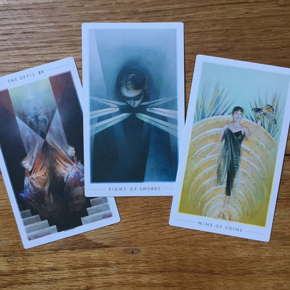 Rider Waite Smith Tarot Forecast Nine of Wands, Page of Cups, Ten of Cups