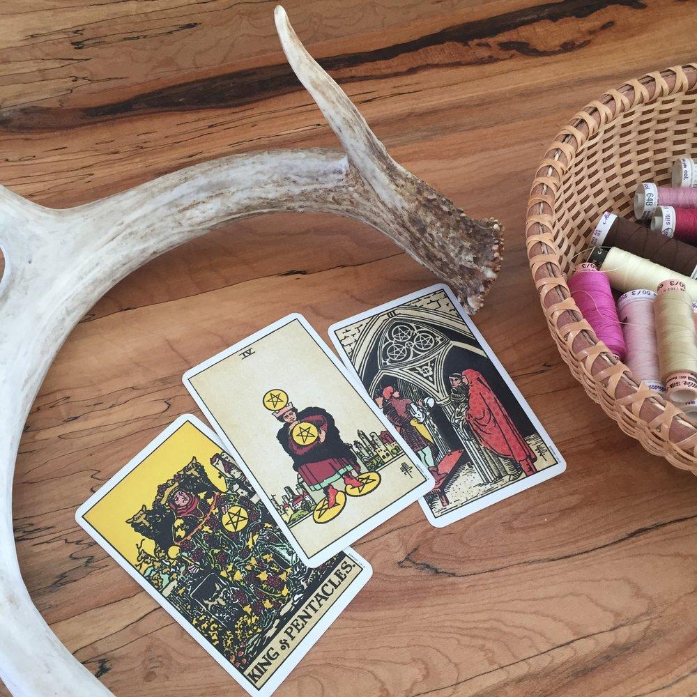 Pagan Otherworlds Tarot Spread with Green Calcite and Plants