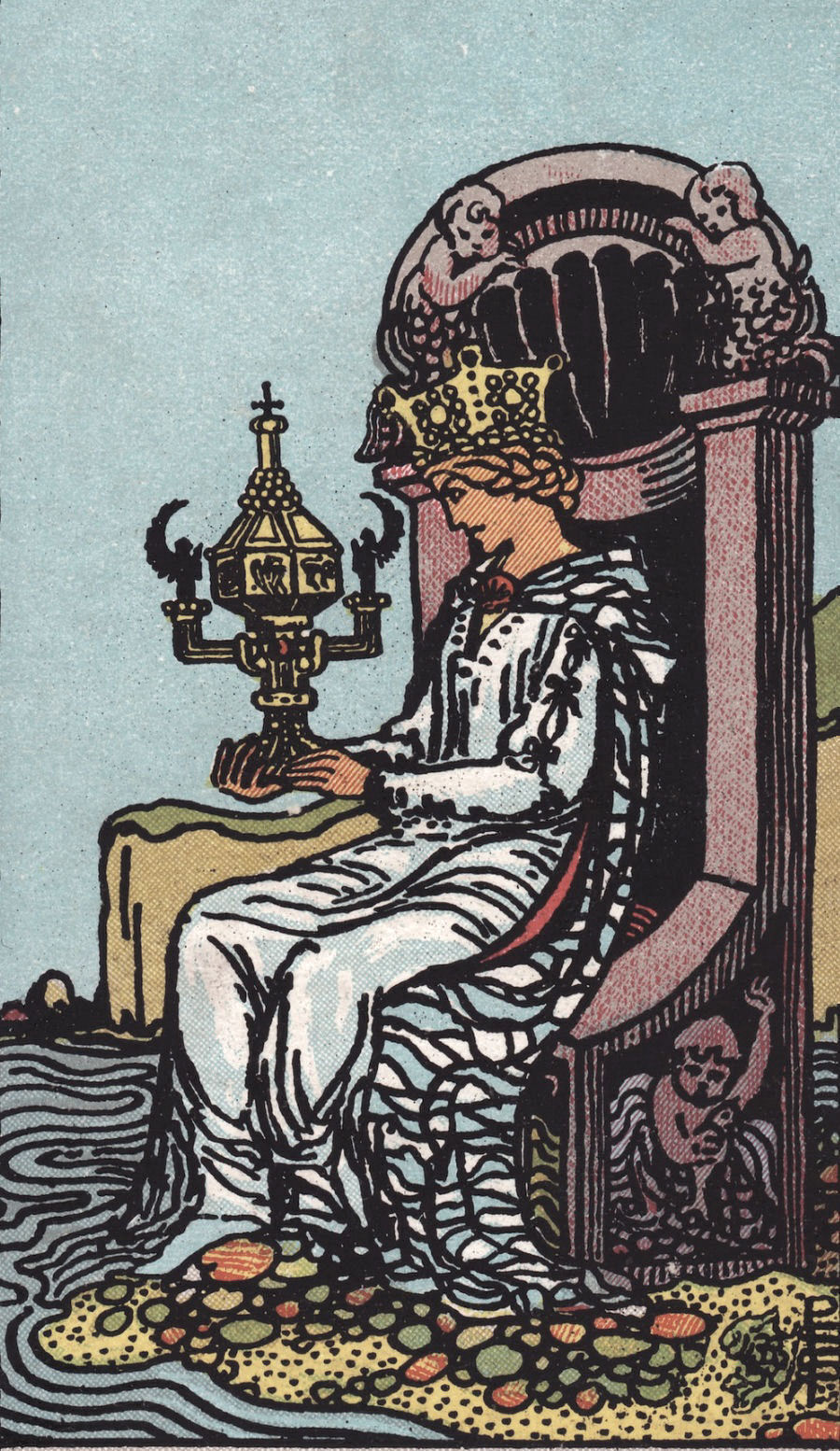 Rider Waite Smith Queen of Cups Tarot Card Meaning