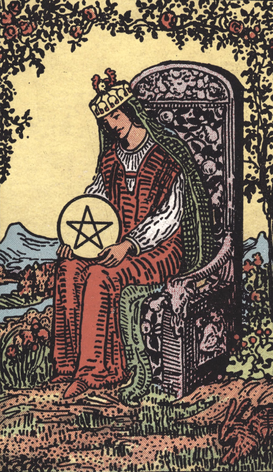 Rider Waite Smith Queen of Pentacles Tarot Card Meaning