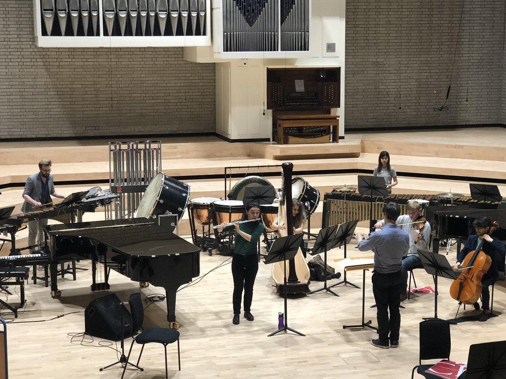 RNCM New Ensemble rehearsing Saariaho