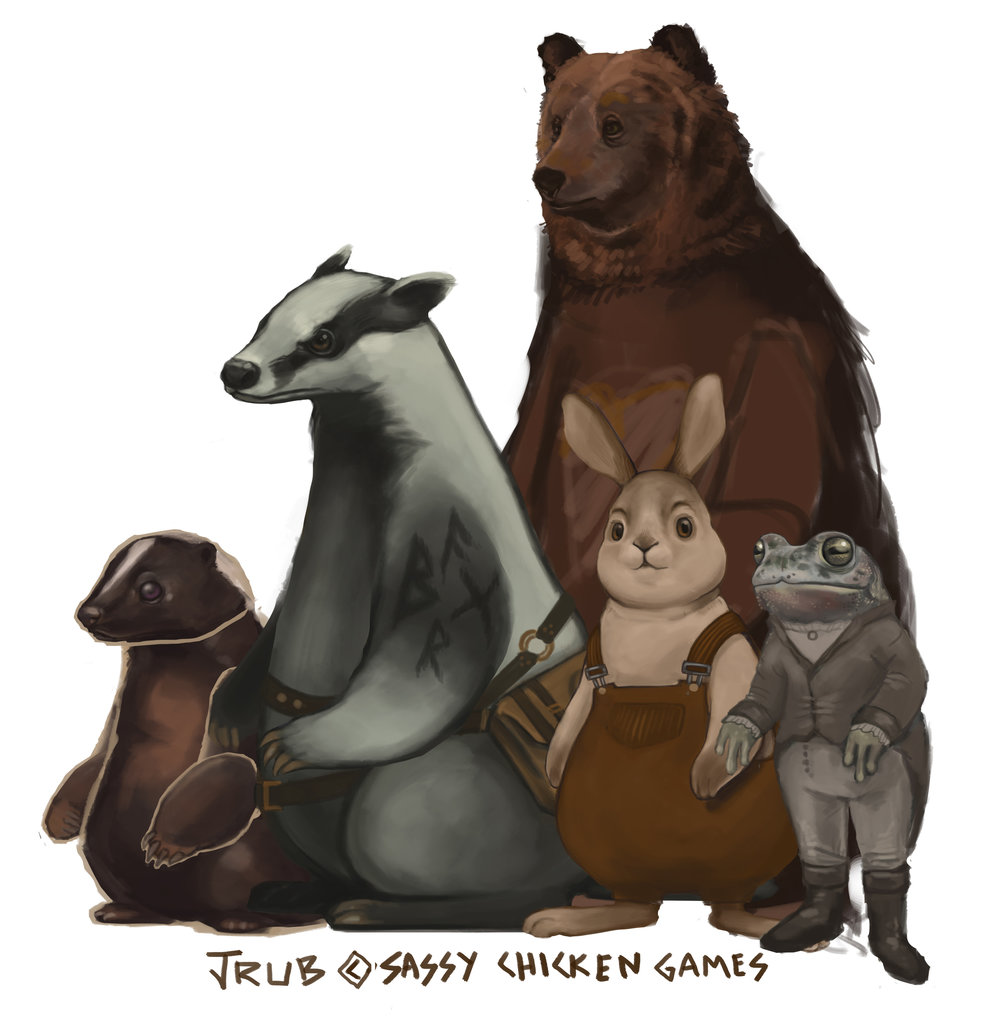 From left: Skunk, Badger, Bear, Rabbit, and Toad.