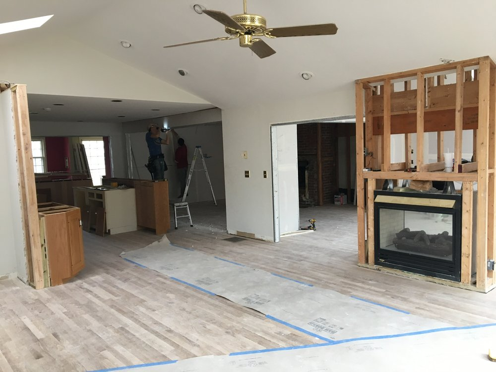 progress shot - the floor plan is coming to life! walls down and things have been opened up.