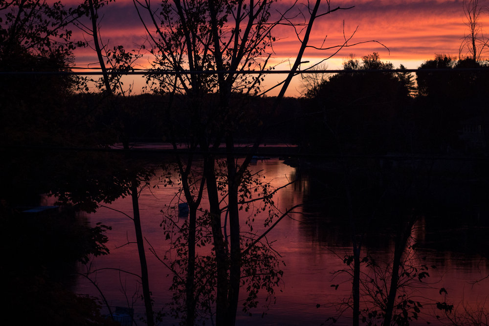 Stunning sunset over the lake, Ile Bigras.