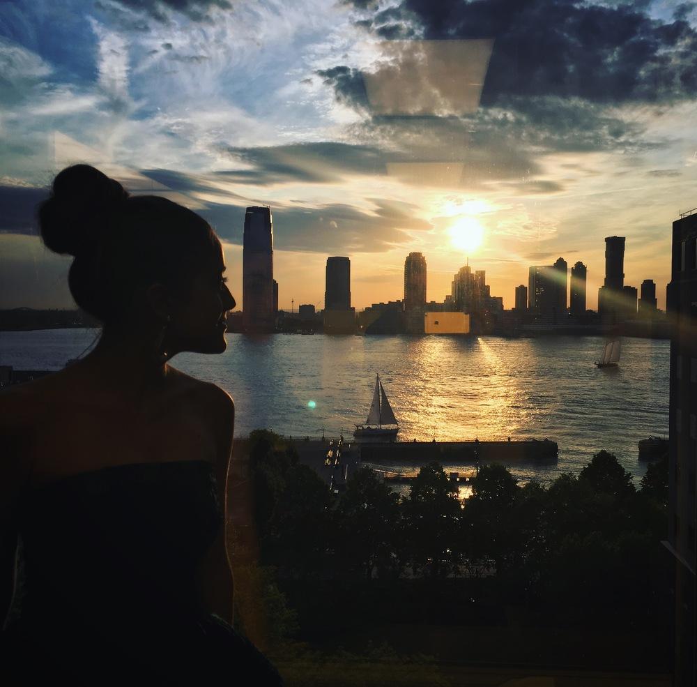 Former Teen Vogue columnist, Caroline Vazzana, styles Karlee at an NYC fitting.