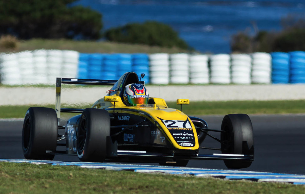 Simon Fallon is seen in his DREAM Motorsports F4 car at Phillip Island