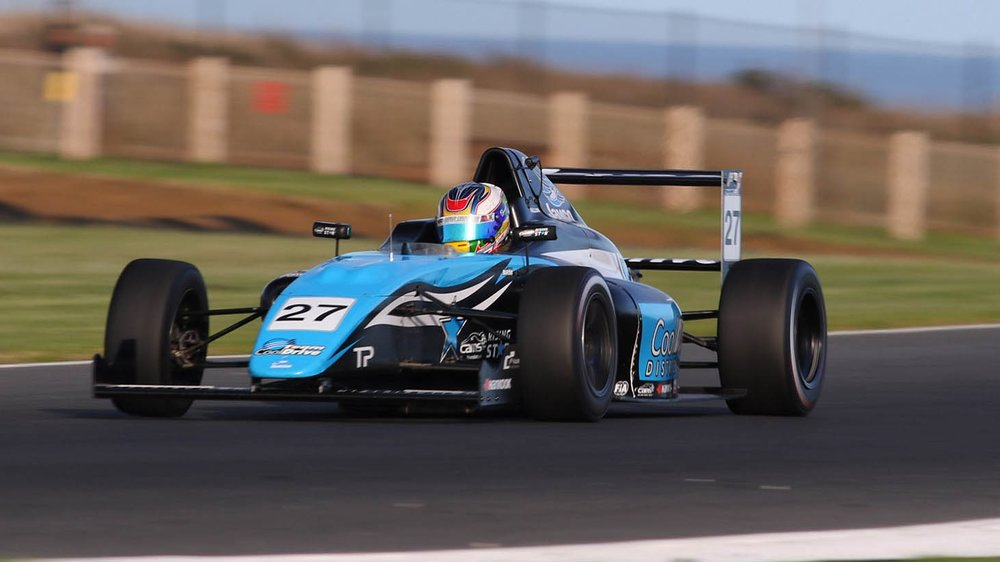 Simon Fallon is seen in the Team BRM Formula 4 at Phillip Island