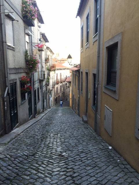 The steep streets of Porto.
