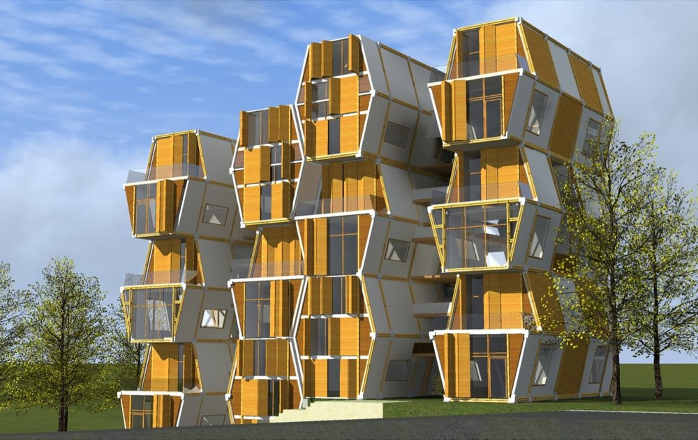 ....Multifamily housing concept ..Concepto de vivienda multi familiar....
