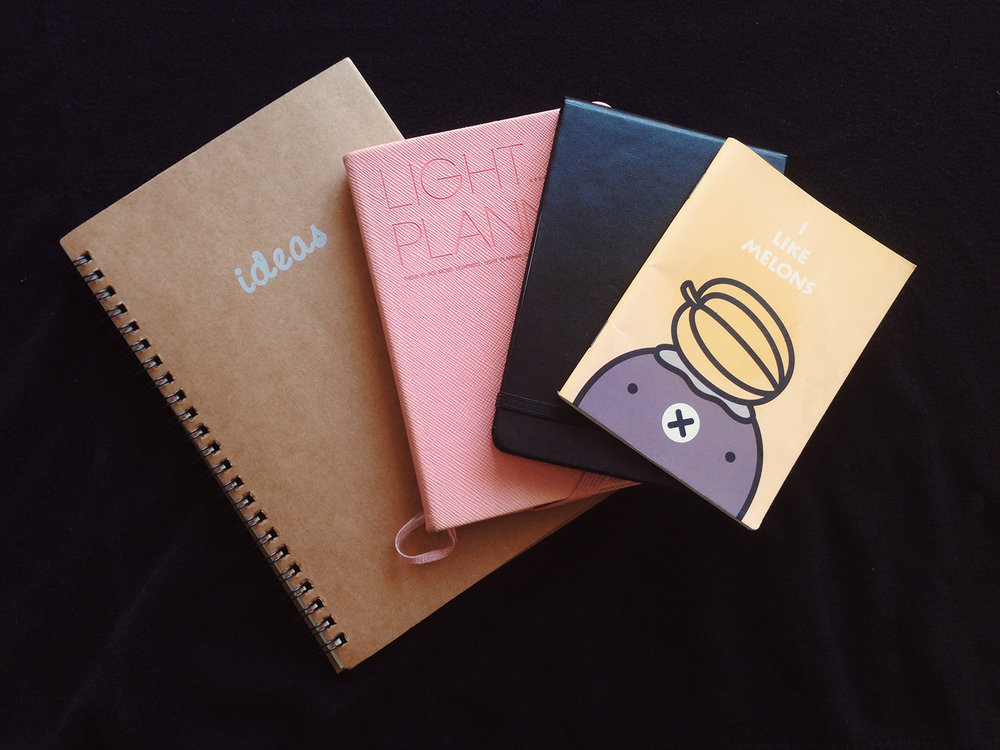 I'm obsessed with notebooks:large, small, bright, bold, ruled, dotted,plain. Any type. I took the time to go through them in search for old notes and concepts.
