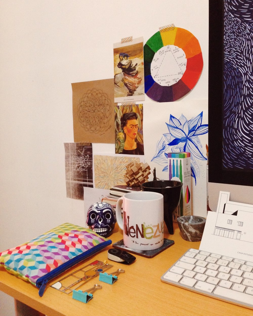My crowded desktop: packed with sketches, postcards, souvenirs, art supplies and inspiration.
