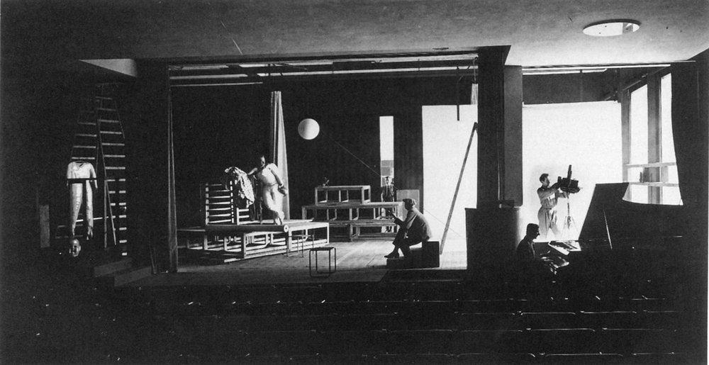 Inside the Bauhaus Dessau theater facility.(1926) Photograph by Erich Consemüller.